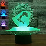 3D Yoga Dance Night Light Table Desk Optical Illusion Lamps 7 Color Changing Lights LED Table Lamp Xmas Home Love Brithday Children Kids Decor Toy Gift
