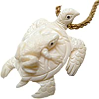 HAWAIIAN NZ MAORI HONU SEA TURTLE & FROG CARVED OX BONE PENDANT NECKLACE