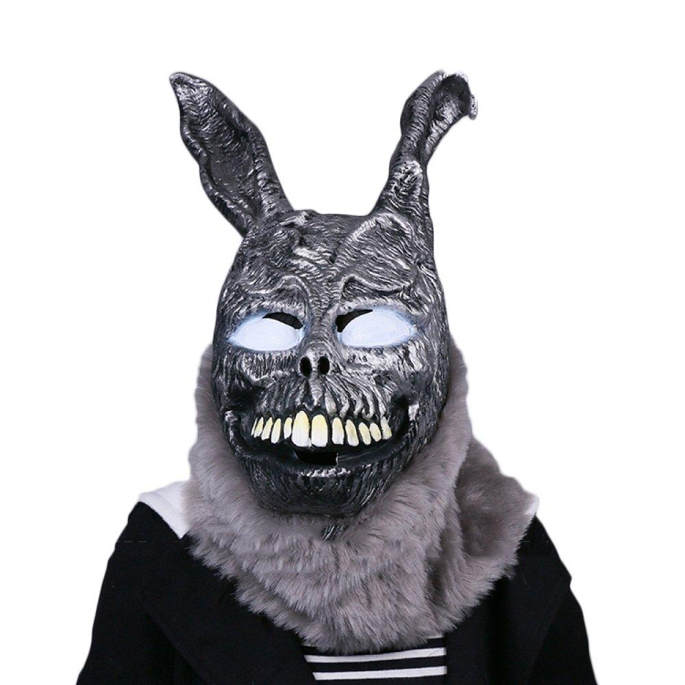 Nihiug Halloween Geist Festival Tod Illusion Terror Maske Evil Bunny Cos Grimasse Dämon Spukhaus Maske Prop,Terror-OneGröße