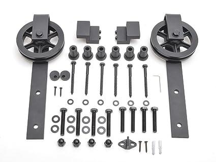 Correa de estilo vintage industrial rueda puerta corrediza de granero madera Hardware Kit de pista