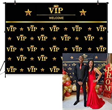 COMOPHOTO VIP Photography Backdrop 7x5ft Royal Crown Black Gold Hollywood Baby Shower Graduation Birthday Party Banner Photo Studio Backgrounds for ...