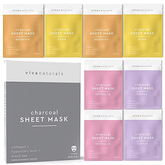 Face Mask for Korean Skincare - Sheet Mask for Detoxifying, Cleansing, Moisturizing and Brightening Skin | Dermatologist Tested Charcoal Face Mask with Collagen & Hyaluronic Acid for Soft Skin, 8 Pack best sheet masks
