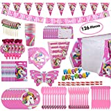 BELLA BAYS Unicorn Party Supplies Pack, Comes Disposable Tableware Birthday Party Decoration Set, Serve 10, All-in-One Value Kit, Perfect Kids. Includes 16 Varieties 126 Pieces