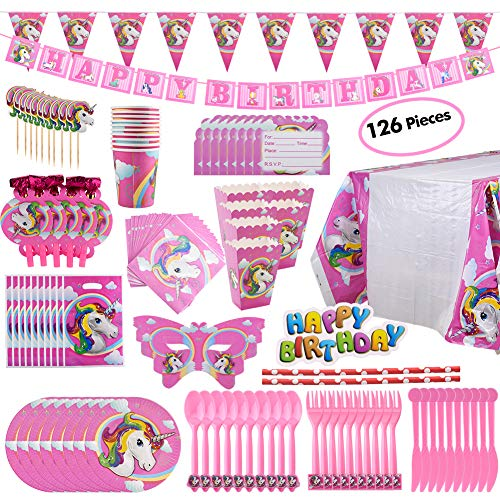 Price comparison product image BELLA BAYS Unicorn Party Supplies Pack, Comes Disposable Tableware Birthday Party Decoration Set, Serve 10, All-in-One Value Kit, Perfect Kids. Includes 16 Varieties 126 Pieces