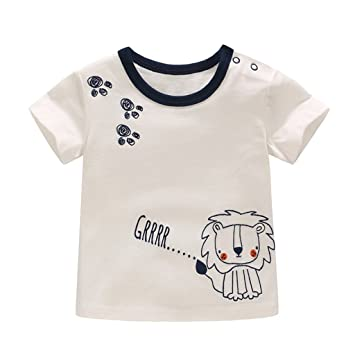 d9467fae2 Baby Boy T-Shirt - Newborn Toddler Kids Short Sleeve Lion Printed Summer  Cotton Infant Tops Baby Tees Shirts Boys Outfits, 12-18 Months:  Amazon.co.uk: Baby