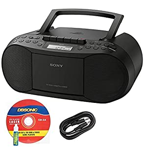 Sony CFDS70BLK CD/Cassette Boombox Home Audio Radio, Black + Auxiliary Cable & Laser Lens Head Cleaner