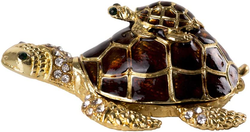 SEVENBEES Turtle Figurines Turtle Jewelry Box Trinket Boxes Hinged for Women,Girls(Brown)