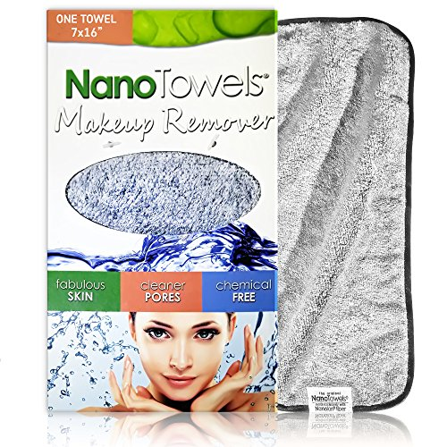 Nano Towel Makeup Remover Face Cloth. Remove Cosmetics FAST and Chemical Free. Wipes Away Facial Dirt and Oil Like An Eraser. Great for Sensitive Skin, Acne, Exfoliating, Mascara, etc. 7 x 16""