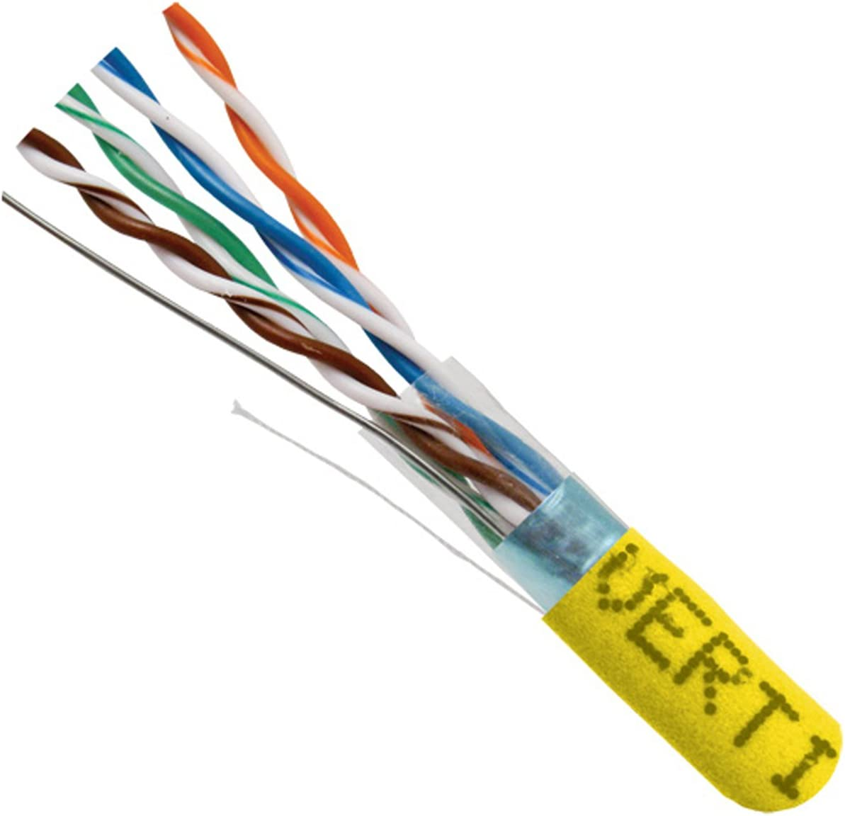 24AWG Yellow 350 MHz Solid Bare Copper Bulk Ethernet Cable Vertical Cable Cat5e Shielded 1000ft