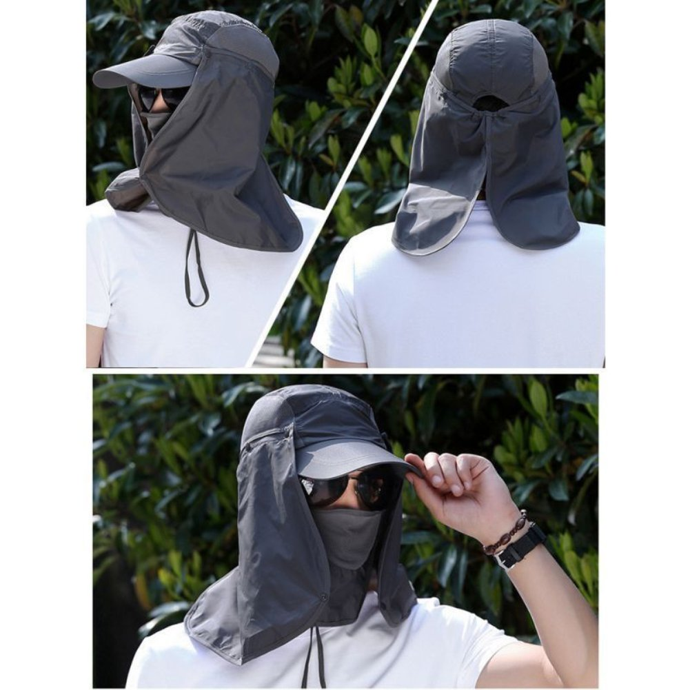 geshiglobal Outdoor Anti-sun Wide Brimmed Cap Neck Face Mask Cover for Hiking Fishing Camping