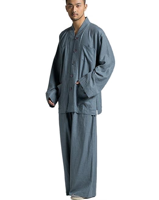 KATUO Gris Ramie algodón Monje Budista Casual Suit Plus Size ...