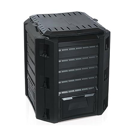 Compostador Composter - Compostador 380L Negro Top calidad tapa cierre Dos Extracción solapas - Fabricado en Europa: Amazon.es: Jardín
