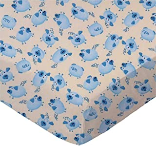 product image for SheetWorld 100% Cotton Percale Extra Deep Fitted Portable Mini Crib Sheet 24 x 38 x 5.5, Blue Piggies, Made in USA