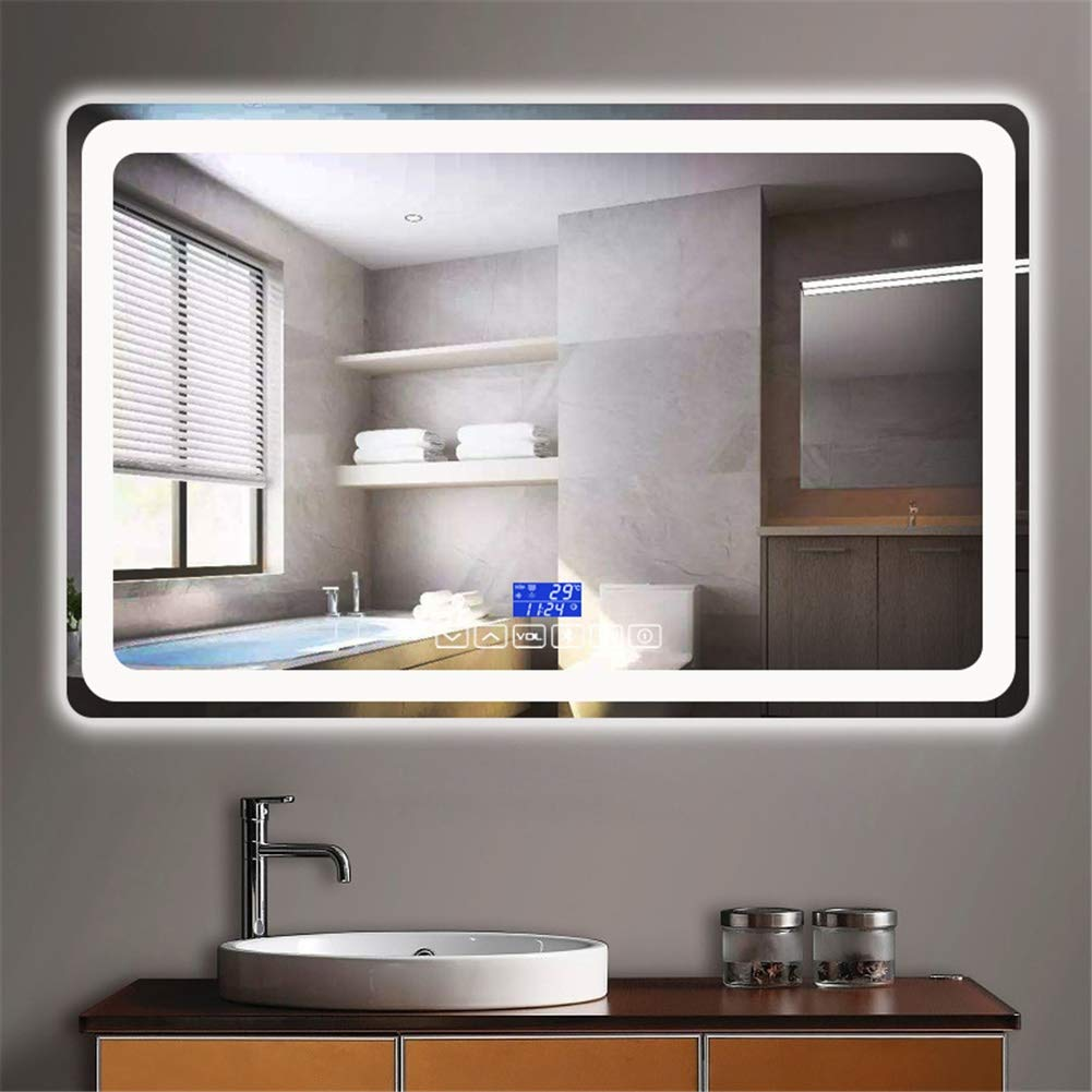 Smart LED Light Bathroom Mirror HD Wall Mount Mirror 6 Button Touch Light Time Date Temperature Anti-fog Bluetooth (Color : White light, Size : 75x120cm) by KRFRP