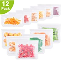 Reusable Storage Bags ( Set of 12)-BPA FREE Silicone Fresh Food Bags, Freezer Bags, Gallon Bags, for Food , Fruits, Vegetable, Snack, Meat, Sandwich