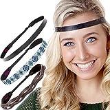Hipsy Women's Adjustable No Slip Cute Fashion Headbands Braided Hairband Packs (3pk Braided/Aztec/Black Hippie Headbands)