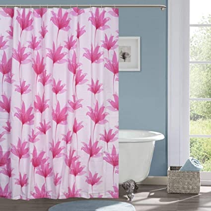 HISCIN Impression PVC Printed Leaf Bathroom Shower Curtain with Hooks (6 feet, Multicolour)