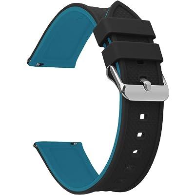 Fullmosa 8 Colores Correa de Reloj de Silicona de Liberación Rápida, Pulsera de Arco Iris de Goma Suave con Hebilla de Acero Inoxidable 18 mm 20 mm 22 mm 24 mm, Arriba Negro/Abajo Azul, 18mm