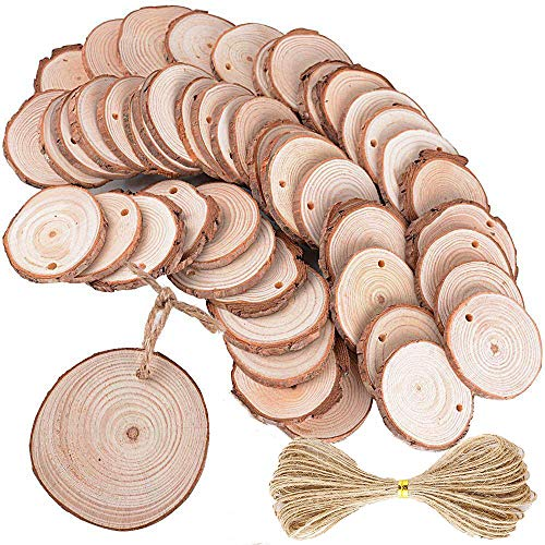 (40pcs 1.9-2.4 inch Unfinished Natural Wood Slices with Holes and 31 Feet Natrual Jute Twine for DIY Crafts Centerpieces Coasters Christmas Ornaments)