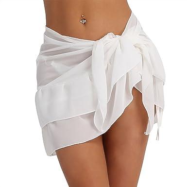 d28e93fe40 structure n Women Sheer Soft Chiffon Swimwear Scarf Beach Bikini ...