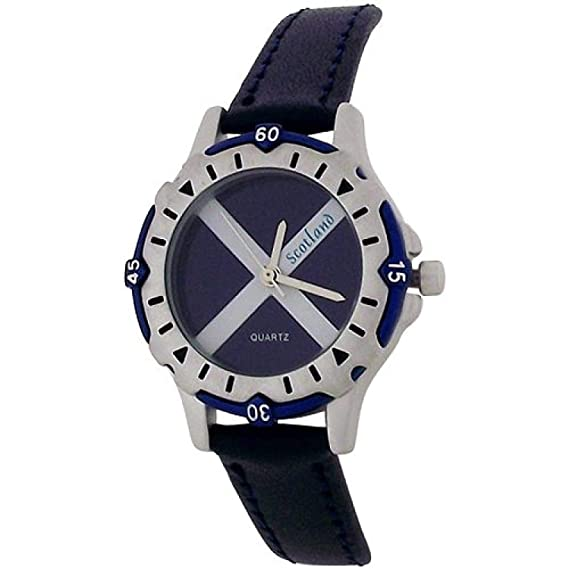 YESS Children Scotland Scottish Flag Dial Navy Blue Leather Strap Watch BOXX357