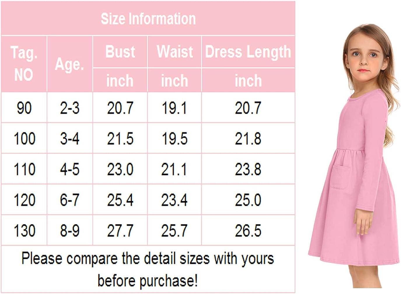 Arshiner Little Girls Dress Long Sleeve Solid Color Casual Skater Pocket Dress