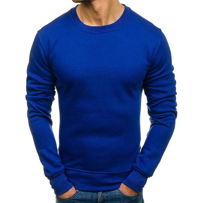 Yvelands Liquidación Moda Ropa Camisas Sudadera Casual de Color Sólido Slim Fit Top Blusa Chándales Chándales