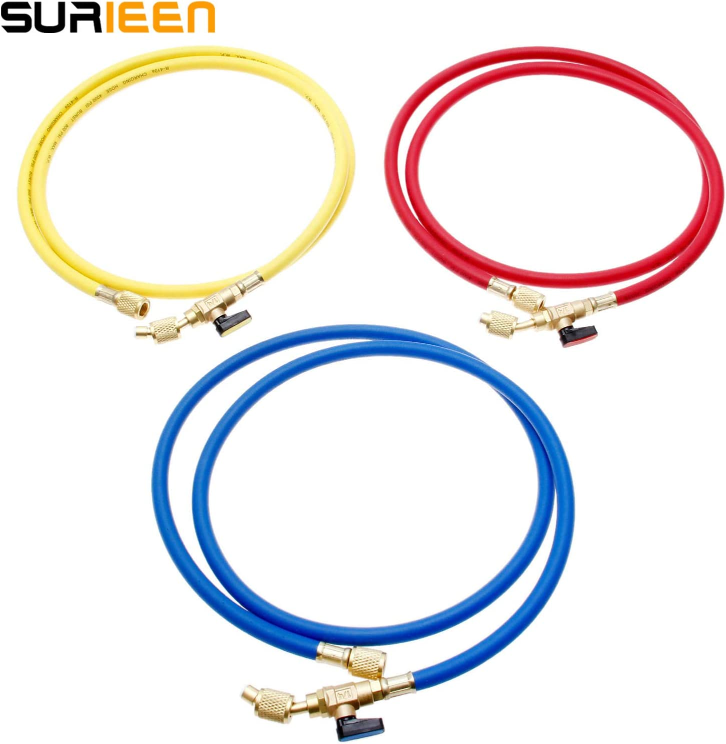PSI Working Pressure 1//4 SAE x 1//4 SAE Thread 60 3 Colors R134A A//C Charging Hose Set with Shut-off Ball Valve, Fits for HVAC Air Condition R410A R12 R22 R502 R404 Refrigerant Manifold 4000~800