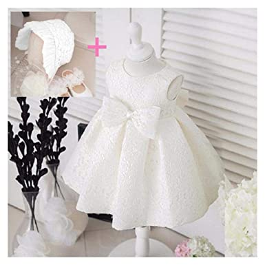 a1527272d FidgetGear Newborn Baby Gown Infant Girl's Princess Lace Baptism Bow Dress  Toddler Baby White Dress +