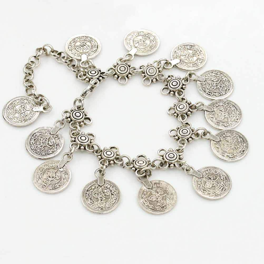 LQT Ltd Bohemia Silver Color Coin Womens Anklet Chain Strap Foot Bracelet Barefoot Sandals Indian Jewelry Beach Accessories for Women