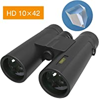 ELLTOE 10x42 Compact Waterproof/Fogproof High Powered Binocular with BAK4 Prism FMC Lens Great for Bird Watching Hunting Concerts & Outdoor Sports for Adults and Kids