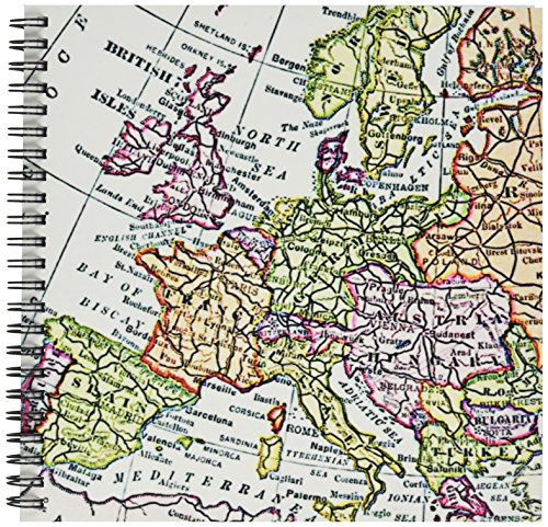 - 3dRose db_112938_1 Vintage European Map of Western Europe-Britain UK France Spain Italy Etc-Retro Geography Travel-Drawing Book, 8 by 8-Inch