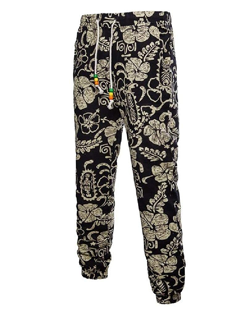 Comaba Mens Individuality Ethnic Style Stylish Relaxed Casual Pants