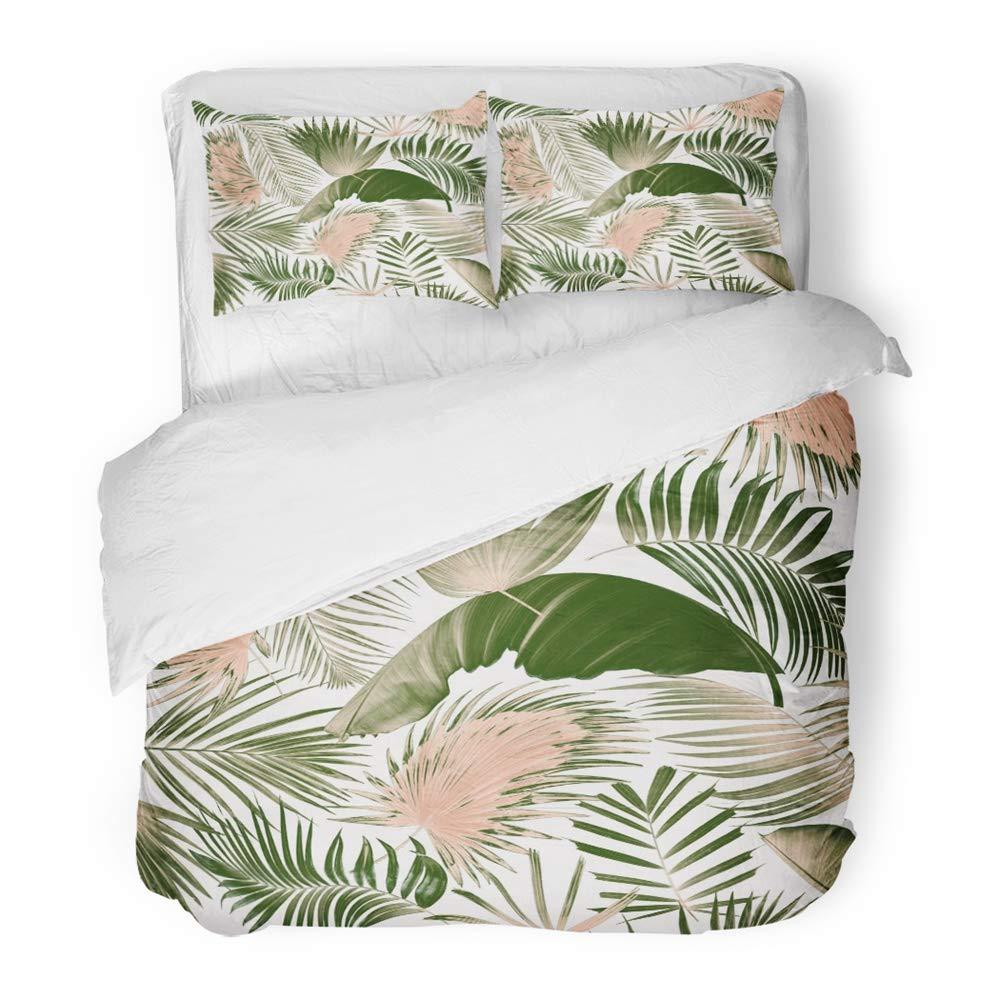 Emvency 3 Piece Duvet Cover Set Brushed Microfiber Fabric Breathable Green Tropical Mix Palm Leaf Tree Spa Cycad Delicate Plant Abstract Arch Bend Bedding Set with 2 Pillow Covers Full/Queen Size