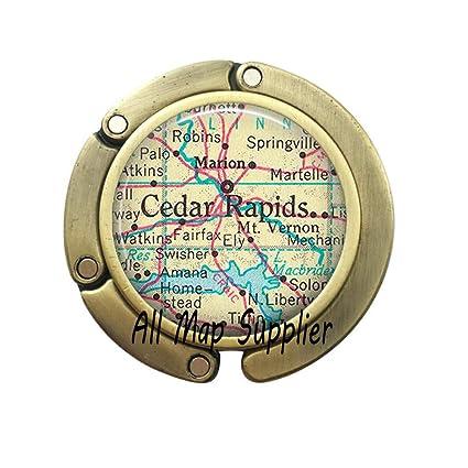 Amazon.com: Charming Purse Hook,Cedar Rapids,Iowa map Bag Hook,Cedar on