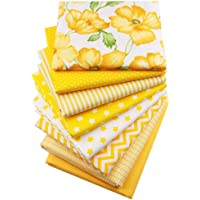 Hanjunzhao Yellow Fat Quarters Fabric Bundles, 100% Cotton Fabric for Sewing Quilting,18 x 22 inches