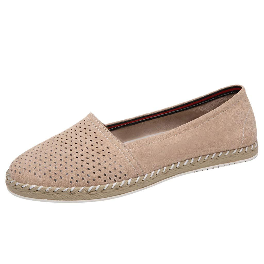 HENWERD Womens Leisure Hollow Flat Shoes Casual Round Toe Single Shoes Wide Width (Beige,7 US)