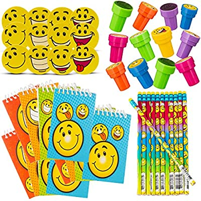 Favonir Happy Themed Set Of Party Favors With Smile Designs For Kids - 48-Piece Bulk Smiley Stationery Set - Erasers, Pencils, Stampers & Notebooks - Top Goodie Bag Fillers, Birthday Party Favor & Classroom Reward Set: Toys &