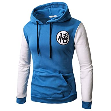 Anime Hoodies Dragon Ball Z Pocket Hooded Sweatshirts Goku Hoodies Pullover Men Blue White