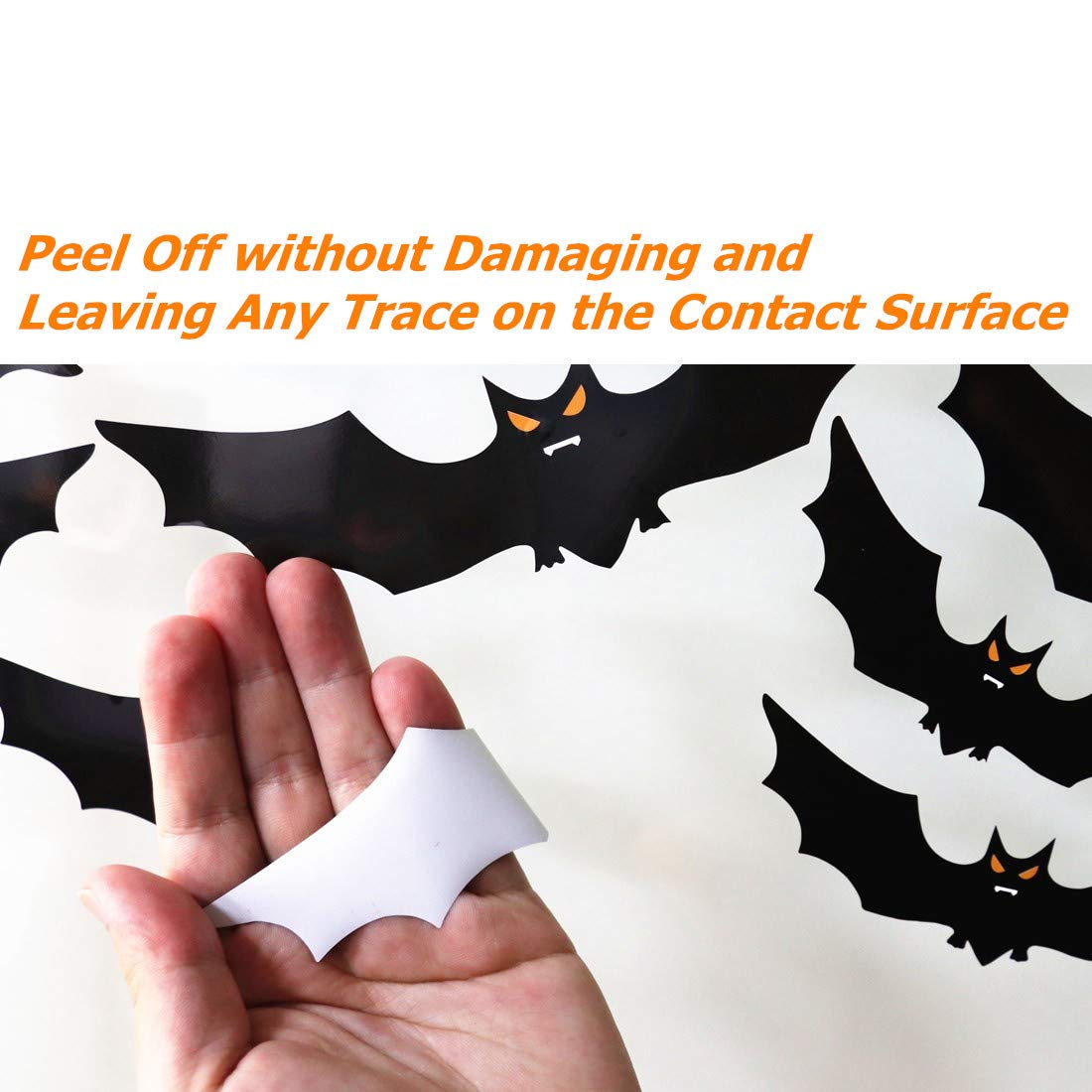 6 Sheet 59pcs Large Scary Silhouette Bats Spider Kids School Home Office Accessories Party Supplies Gifts Ivenf Halloween Decorations Window Clings Decor