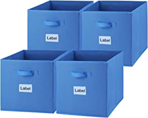EAGLEFLY Large Foldable Cube Storage Bins, 13x13 Inch Collapsible Cloth Storage Boxes Containers Organizer Baskets with Dual Handle for Nursery,Office,Closet,Shelf - Set of 4(Blue)