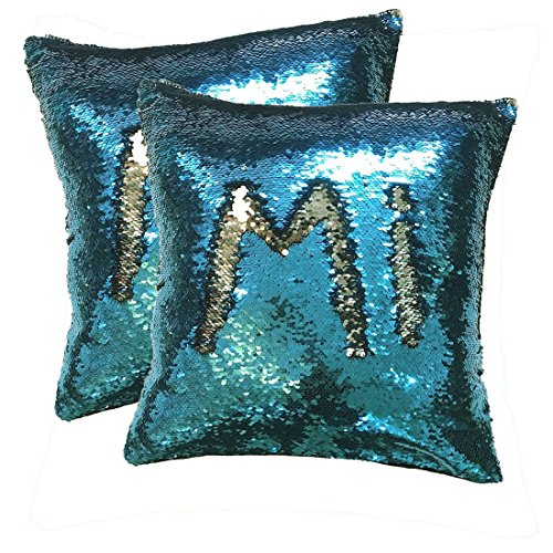 Custom Pattern by Finger Running ! Magic Reversible Two-Tone Sequin Throw Pillow Cover 18