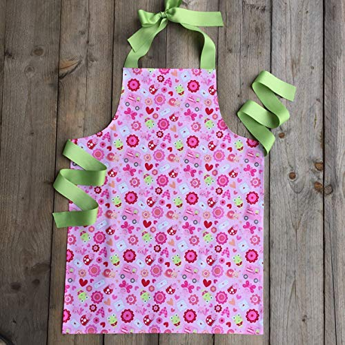 Handmade Ladybug Art Kitchen Gift Apron for Girls