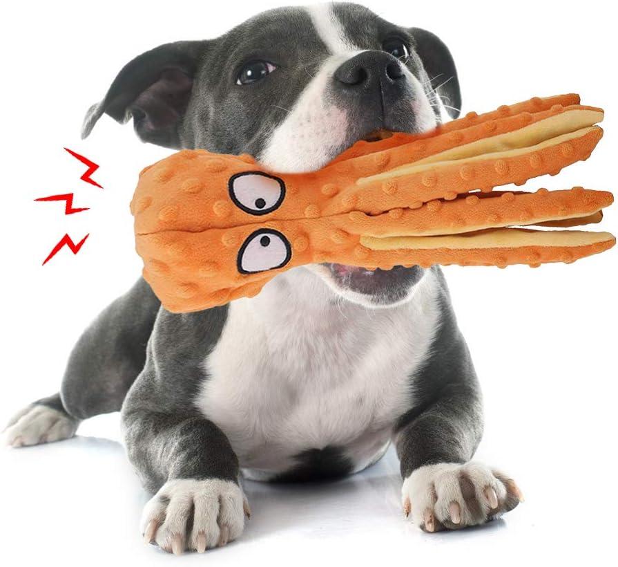 ExH Giocattoli per Cani Che squittiscono 2 Pezzi Giocattoli da Masticare per Cani durevoli Giocattolo con stridore per Cani Giocattolo per Cani di Peluche con Polpo con Carta Pieghettata per Cani