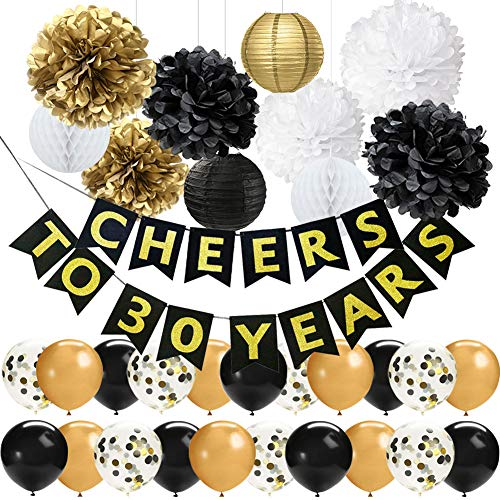 42 PCS 30th Birthday Party Decorations Kit 30th Wedding Anniversary Decorations Black Gold CHEERS TO 30 YEARS Banner 12 Inch Latex Balloons Tissue Pom Poms Flowers Paper Lanterns Hanging Decorations