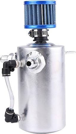 Qiilu Oil Catch Can 0 5l Universalaluminium Motoröl Fang Behälter Kann Reservoir Entlüftungsfilter Silber Si A0409 Auto