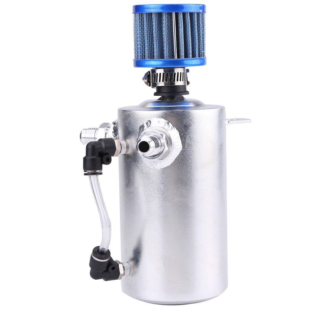Tanque de captura de aceite, 0.5L Extractor de aceite de respiración de aceite de carreras universal Puede depósito de aceite de tanque con filtro de ...