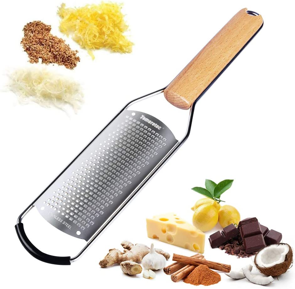 Stainless Steel Cheese Grater with Natural Wood Handle for Parmesan Cheese Lemon, Ginger, Cheese, Nutmeg, Potato, Chocolate and Garlic