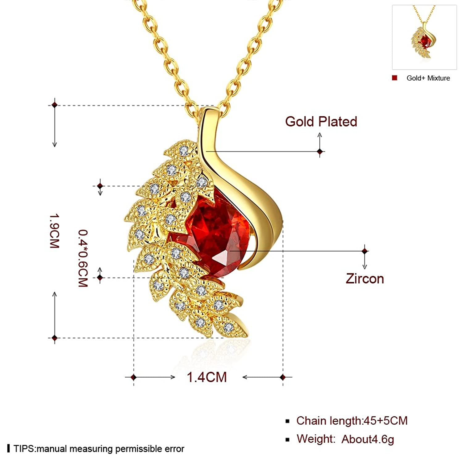 Amazon.com: SDLM Slim Chain Gorgeous Ruby Unique Phoenix Charm Gold Plated  Pendant Necklace(y): Jewelry