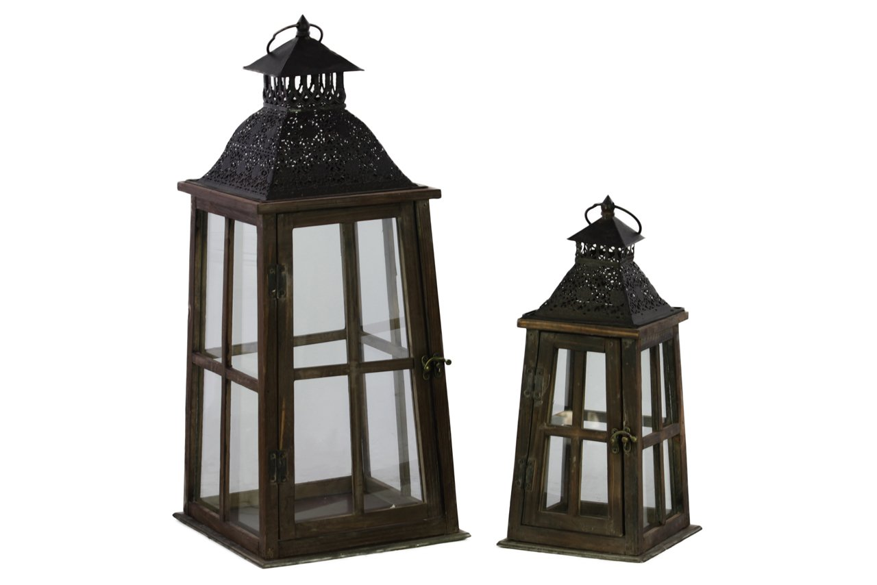 Urban Trends Wood Lantern with Ring Hanger and Black Metal Top, Stained Wood Finish, Espresso Brown, Set of 2